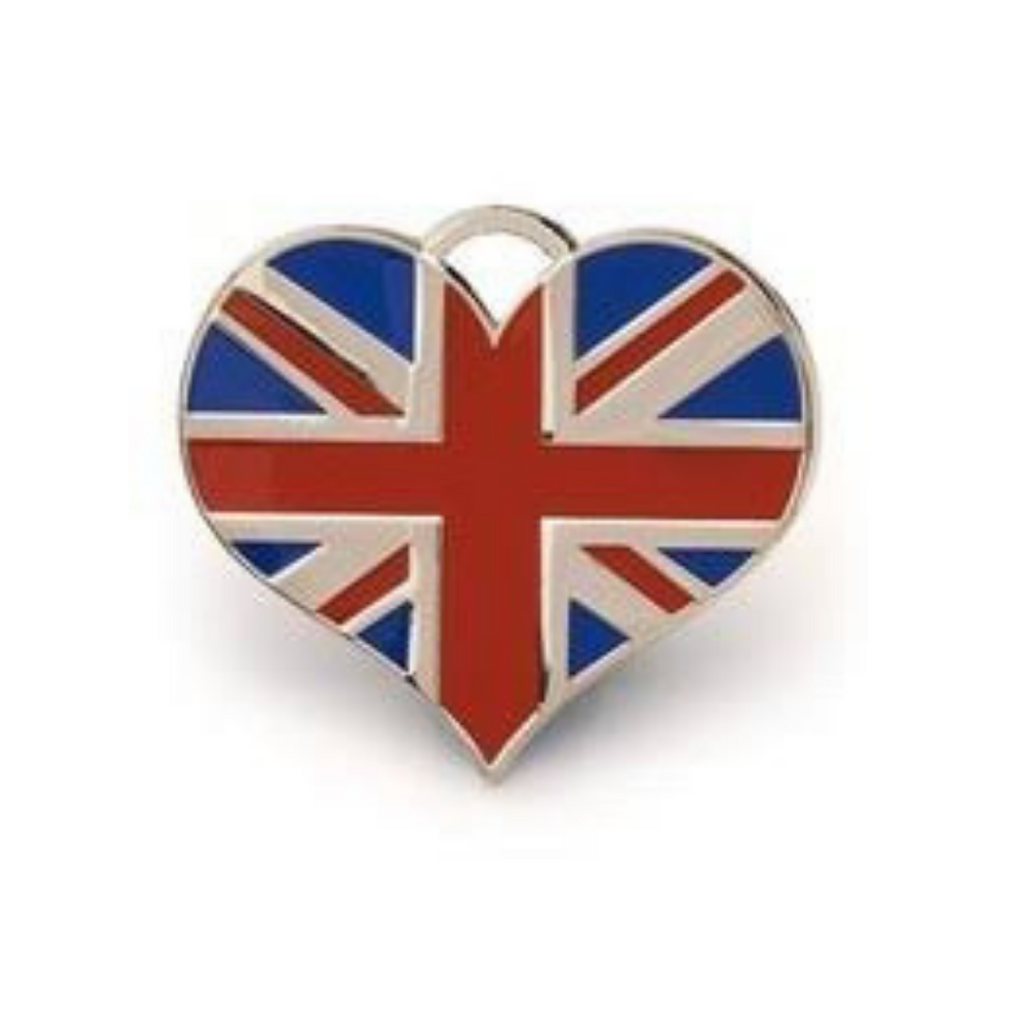 Union Jack Heart ID Tag - Silver - Coco & Pud