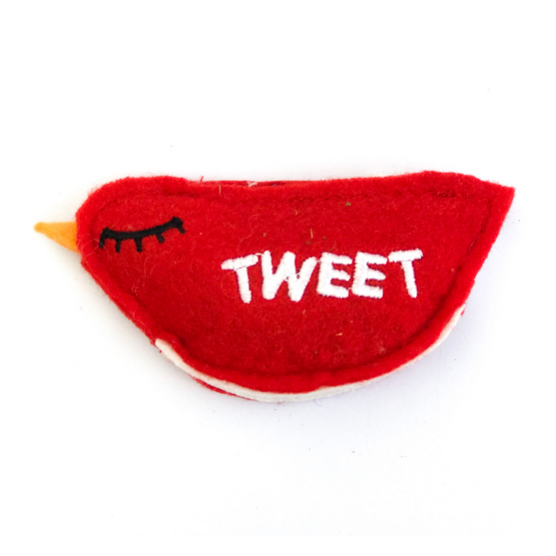 Coco & Pud Cat Nip Bird  Toy - Red back