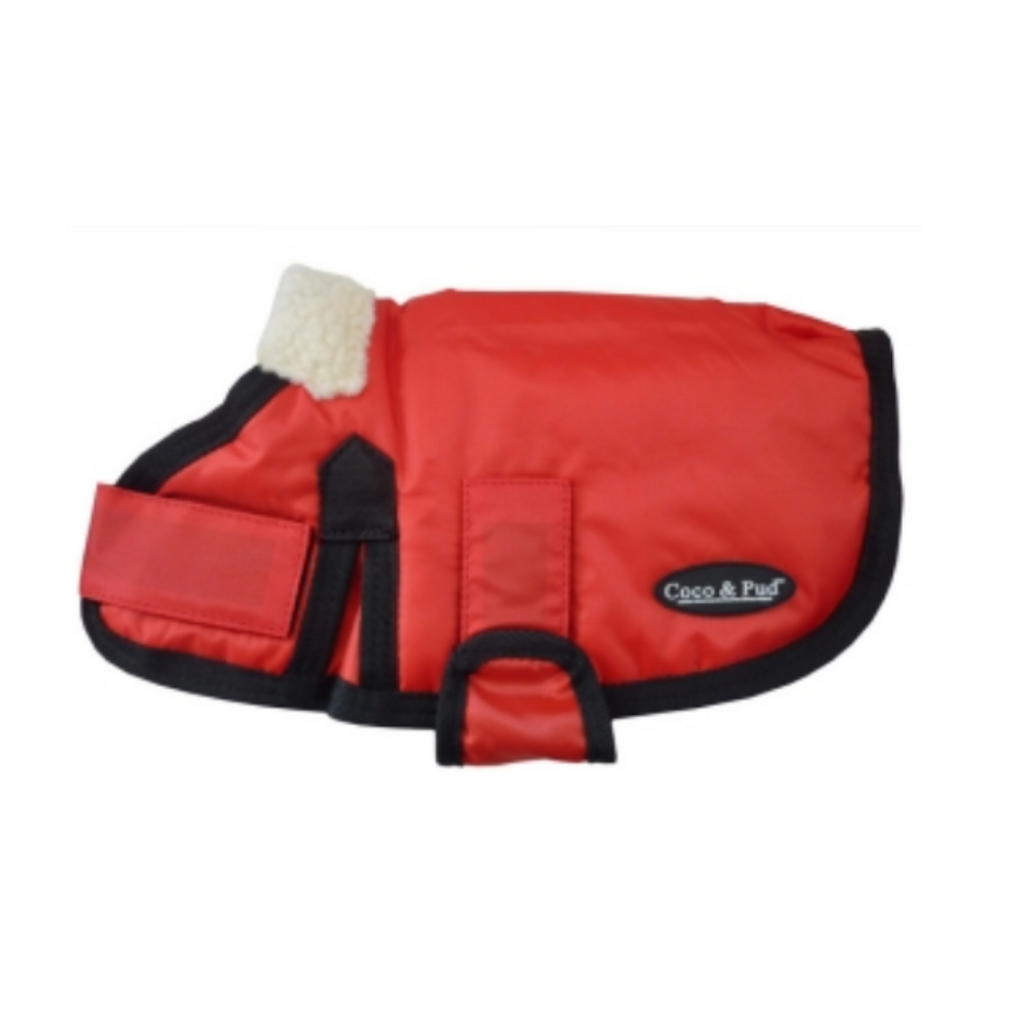 Coco & Pud Waterproof Dog Coat 30-55cm - Red