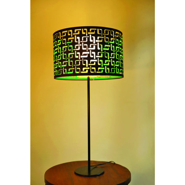 Black Metal Table Lamp with Spiro Shade