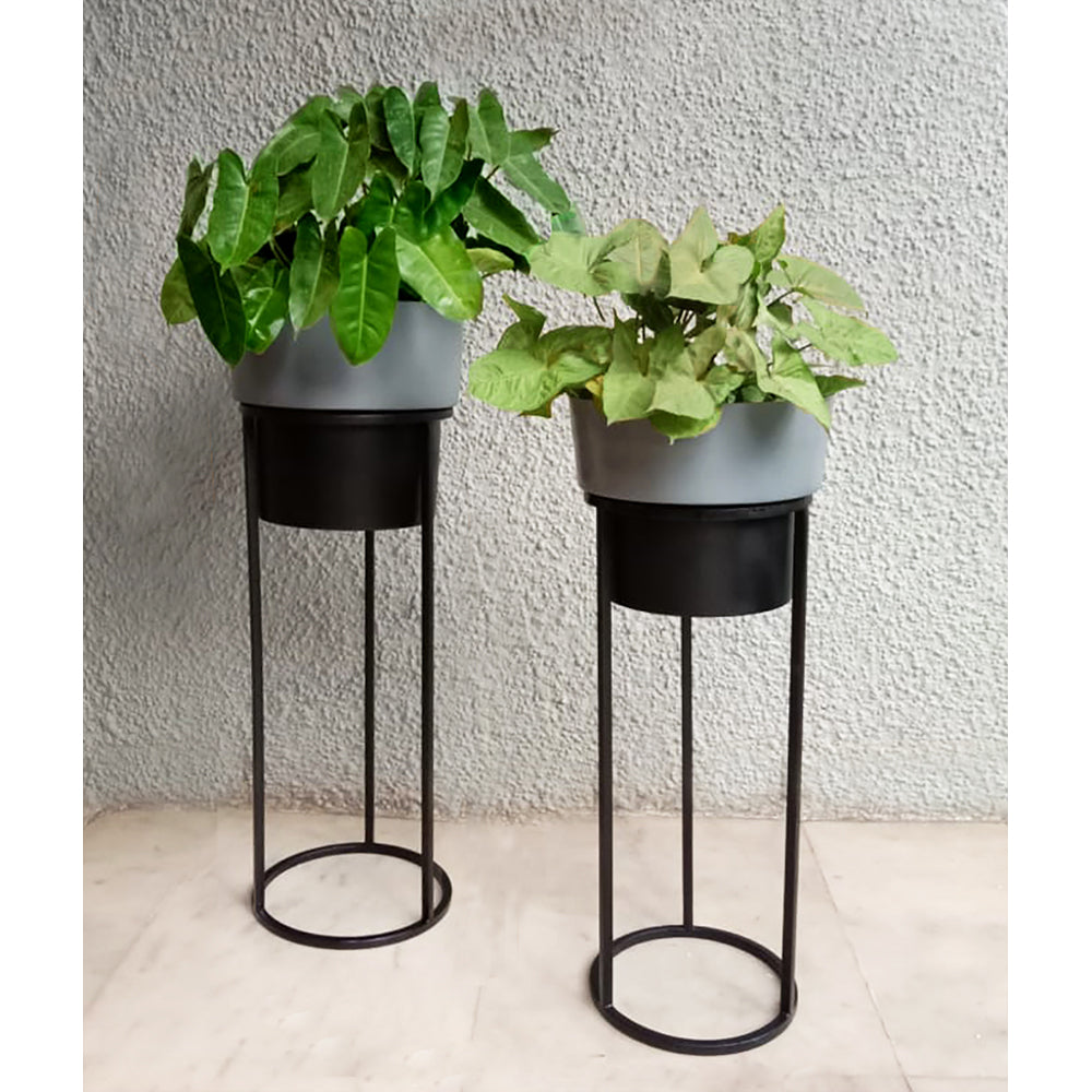 Grey Planter with stand