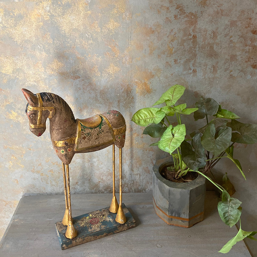 Painted Wooden Horse on Stand