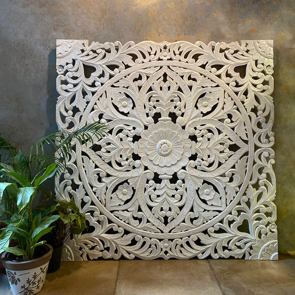 Pristine White Carved Panel