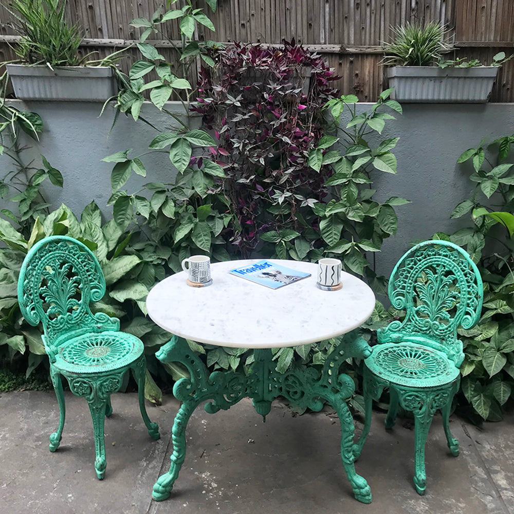 Garden Marble Table & Chairs (Set of 3)