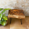 Burn Teak Wood Side Table