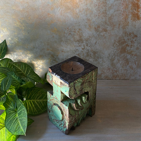 Antique Carved Wood Candle Holder