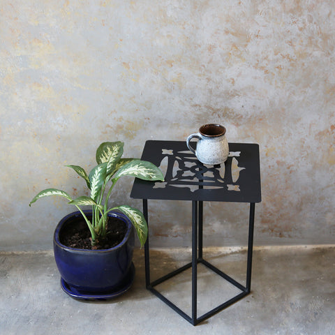 Metal Cutwork Square side table