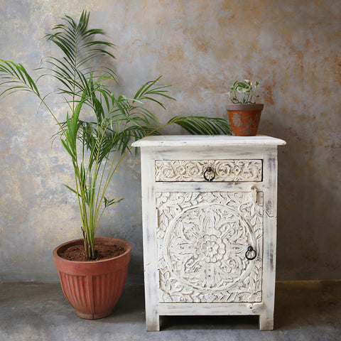 White Distressed Side Table