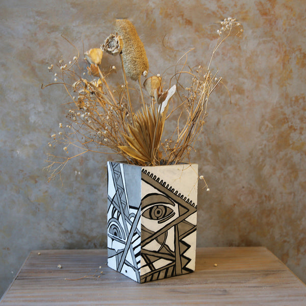 Concrete Painted Vase