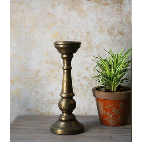 Gold Wooden Candle Holder