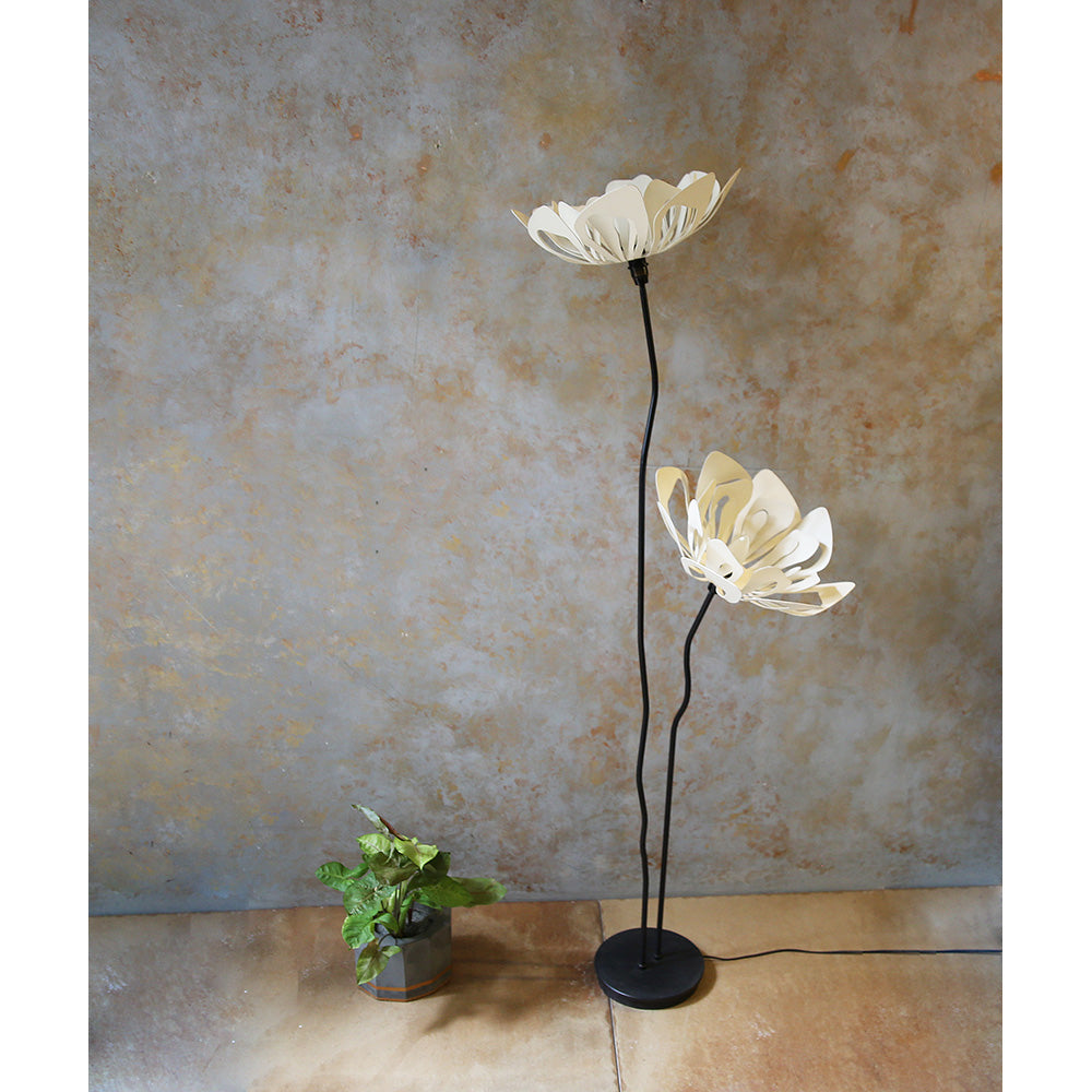 Twin Passion Flower Floor Lamp