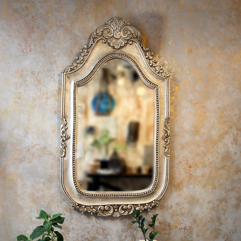 Carved Silver Mirror Frame