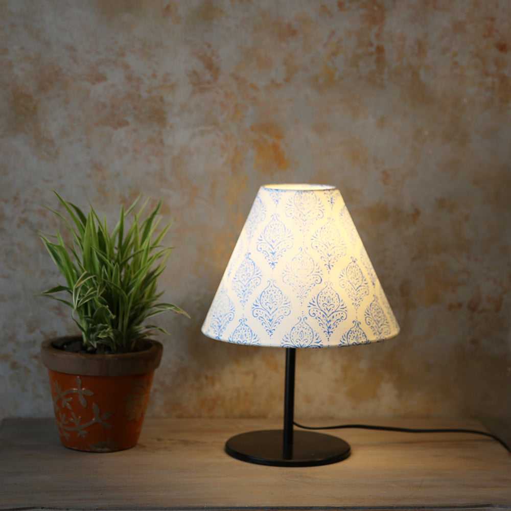 Conical Printed Shade with Black Table Lamp