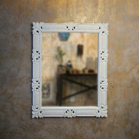 Pastel Blue Carved Mirror Frame