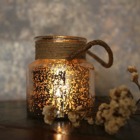 Distressed Mirror  Jar T-Light with rope