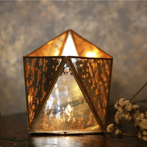 Distressed Mirror Hexa T-Light