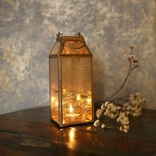 Distressed Mirror Tall Lantern