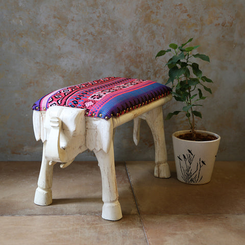 Wooden Elephant Bench Small