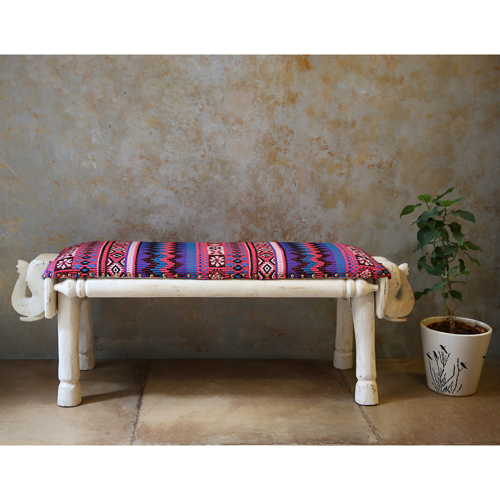 Wooden Elephant Bench
