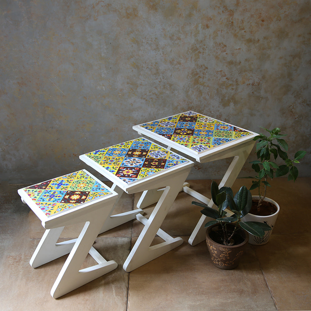 Tile Nesting Tables (Set of 3)
