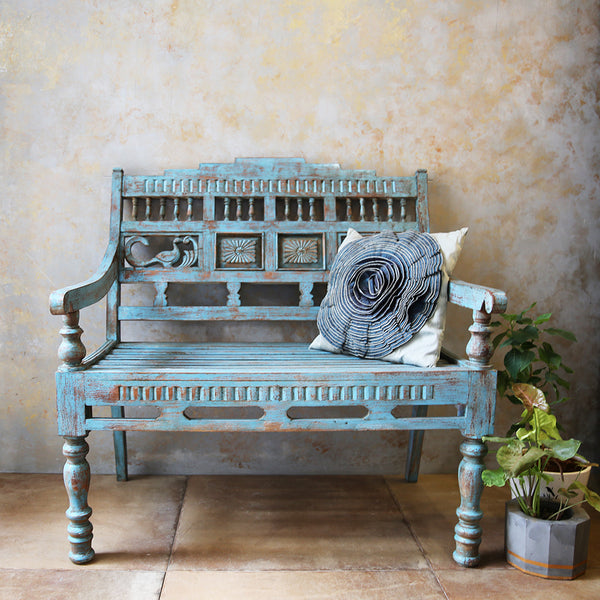 Blue Carved Wooden Bench