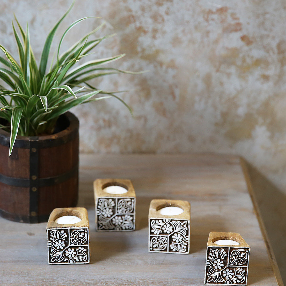 Printing Block Candle Stand (Set of 4)