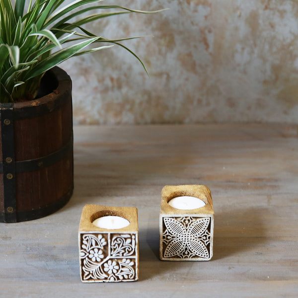 Printing Block Candle Stand (Set of 2)