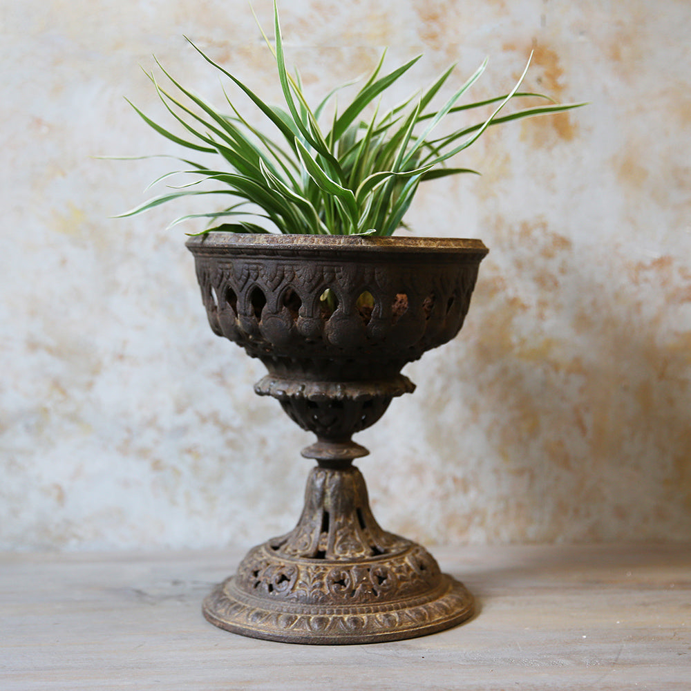 Antique Carved Metal Planter