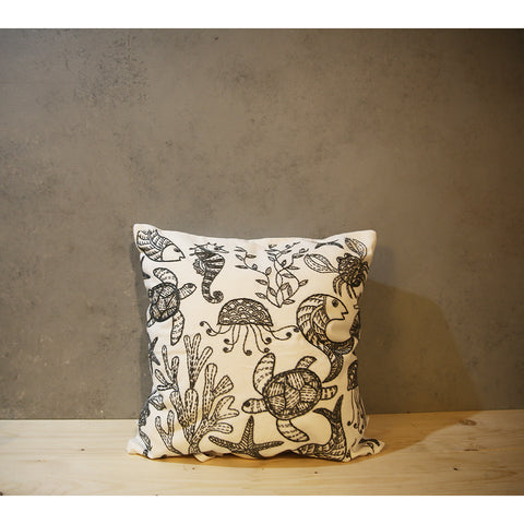 Sea Creatures Embroidered Cushion Cover