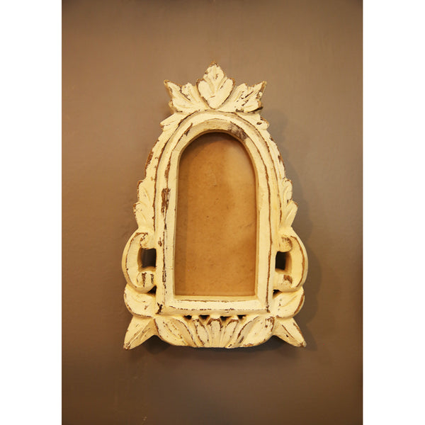 Carved wooden Frame - white