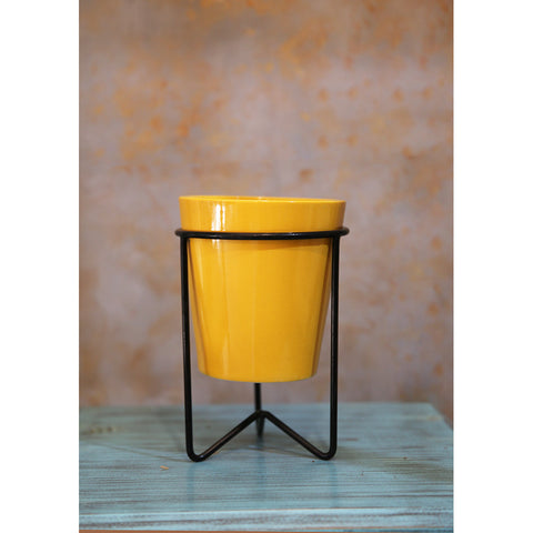 Yellow planter with stand