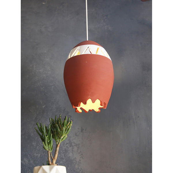 Terracotta hanging lamp