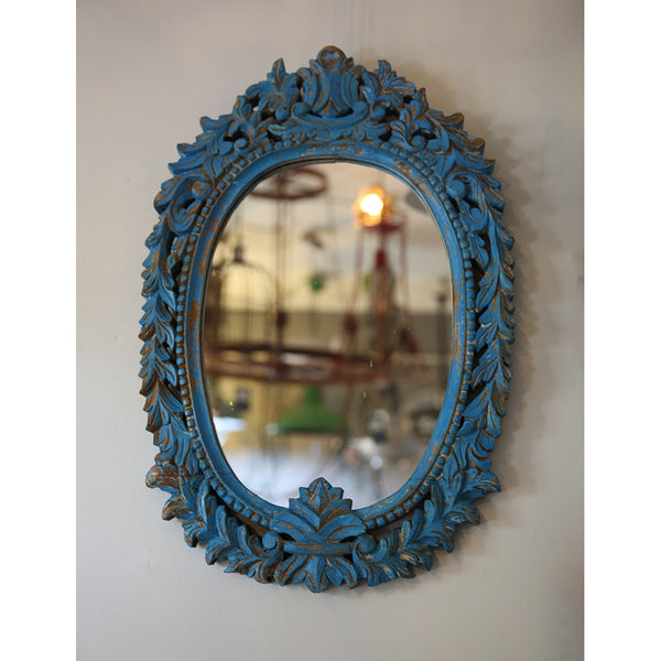 Carved Oval Blue Mirror