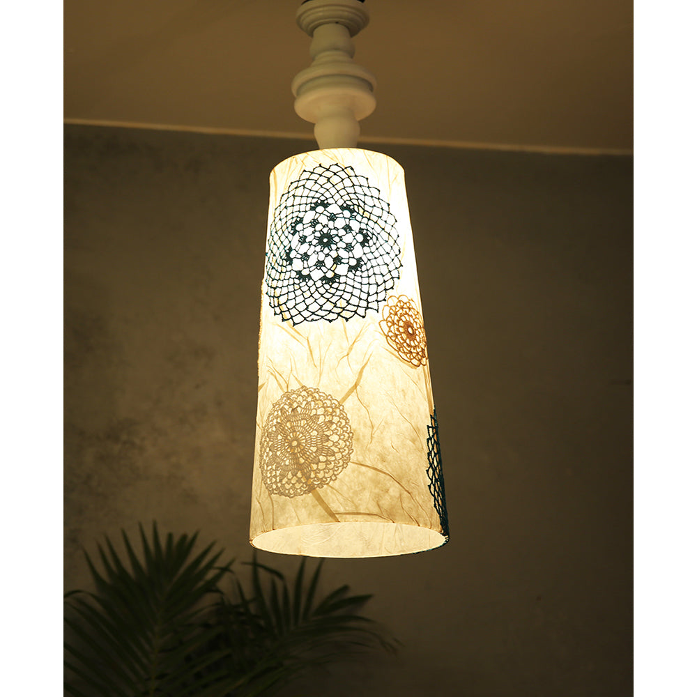 Acrylic, Crochet & Wood hanging lamp
