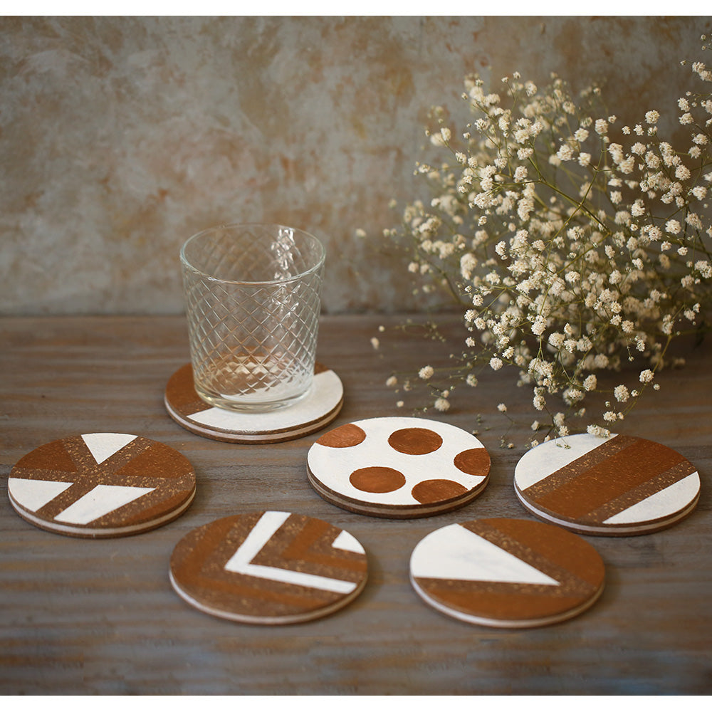 Painted Cork Coasters (Set of 6)