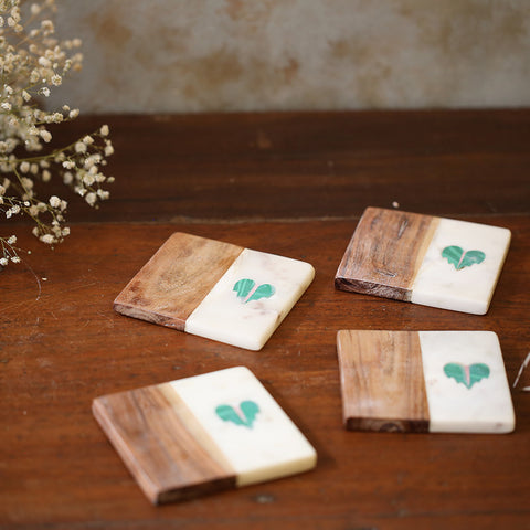 Heart Marble & Wood Coasters (Set of 4)