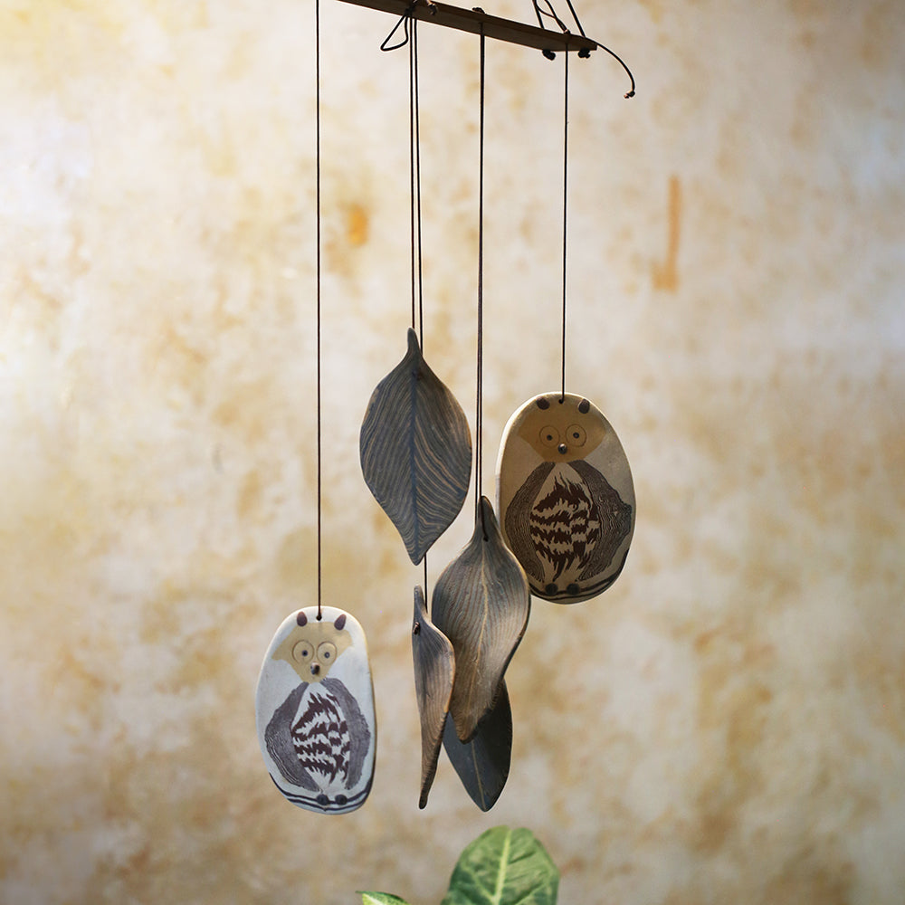 Owl & Leaves Ceramic Chime