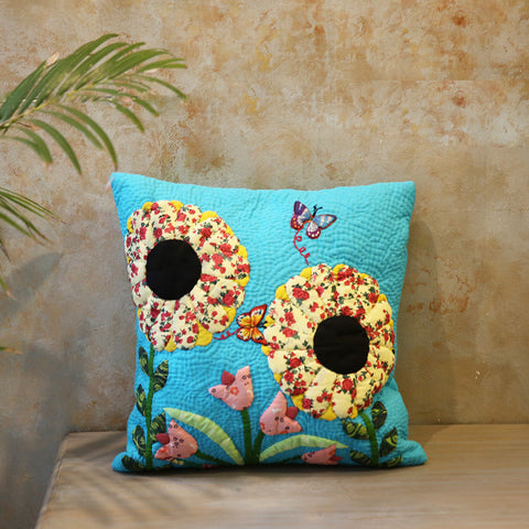 Flower & Butterfly Cushion Cover