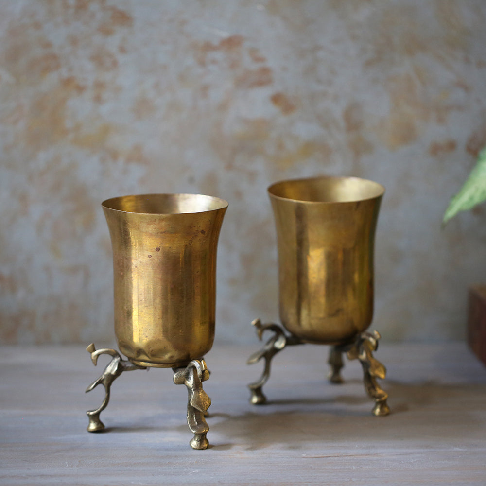 Antique Brass Glass on Stand(Set of 2)