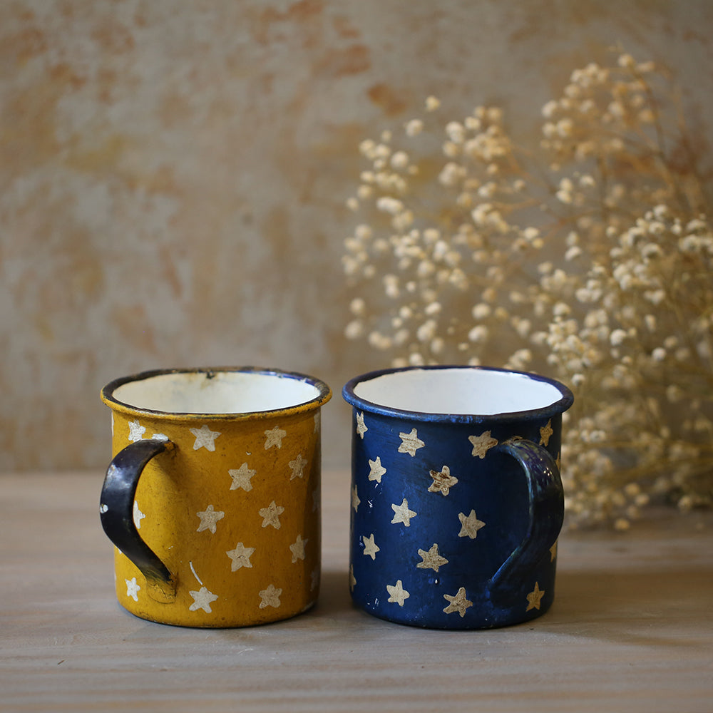 Vintage Hand Painted Enamel Mugs (Set of 2)
