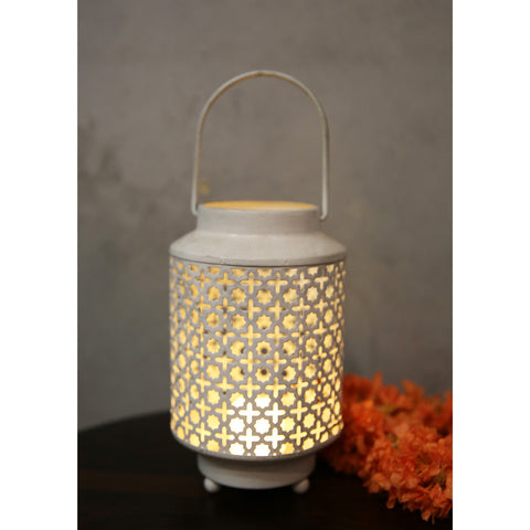 White Jaali Candle Stand