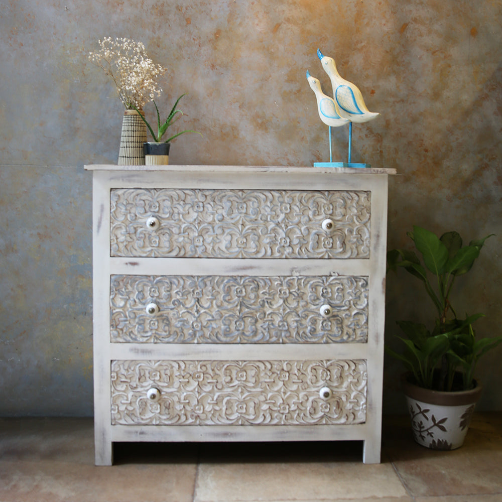 Daisy Carved Chest of Drawers