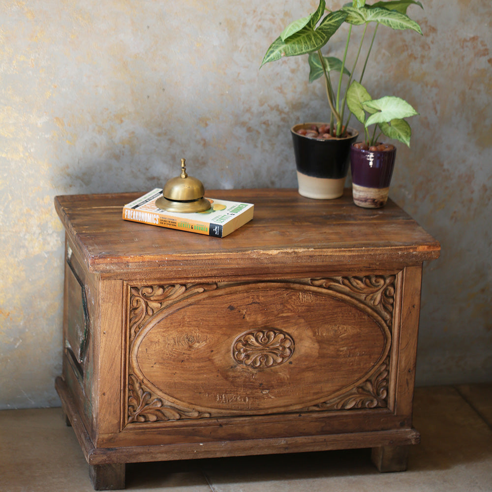 Carved Wooden Mini Trunk Table