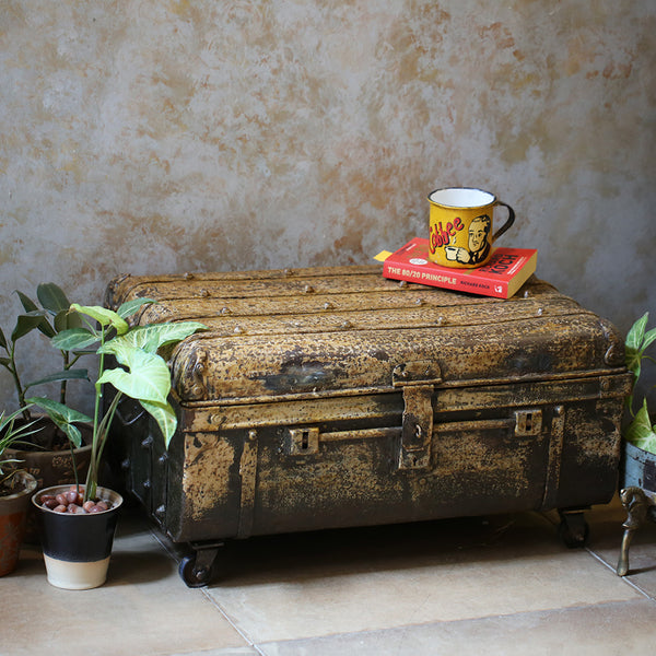 Antique Metal Trunk on wheels