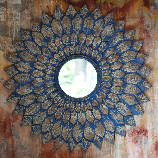 Wooden Sun Mirror Large