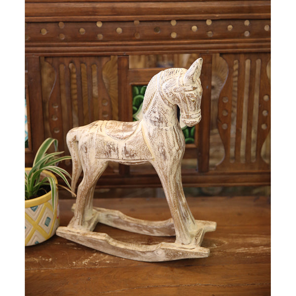 Carved Wooden Rocking Horse (Decor only)