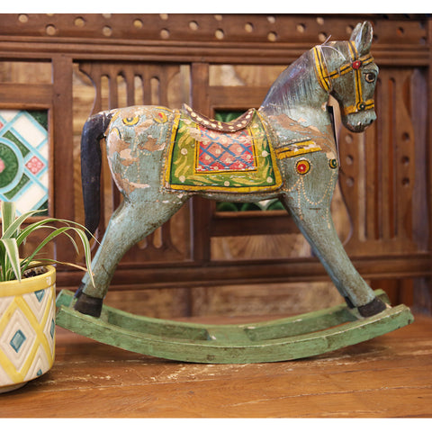 Painted Wooden Rocking Horse (Decor only)