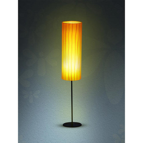 Plain Black Metal Floor Lamp with Orange Pleated Shade