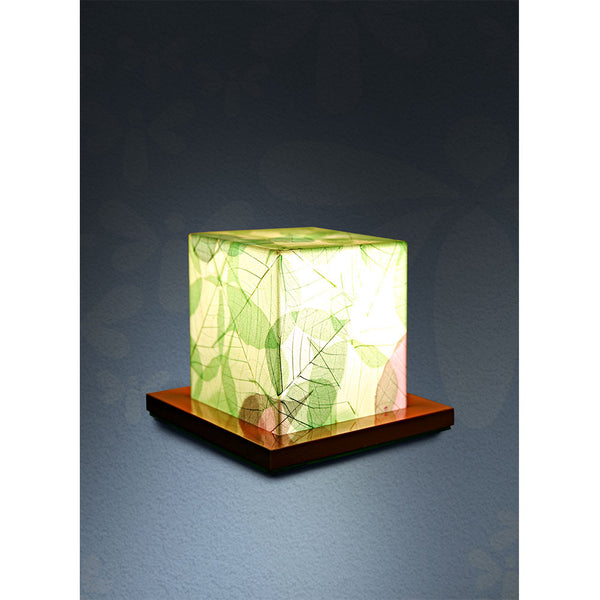 Acrylic With Dried Leaf Table Lamp - Green
