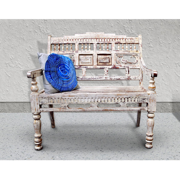 White Carved  Wooden Bench